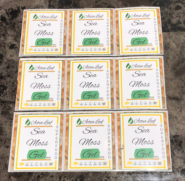 """Sea Moss - The Active Leaf Full color labels 3x2.5"""""""