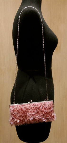 Moyna Pink Sequin Beaded Bag/Clutch
