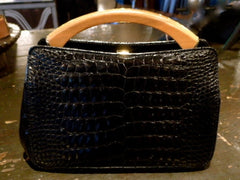 Black Alligator Handbag with Wood Handle