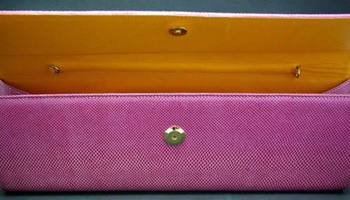 LAI Hot Pink Lizard Clutch with Yellow Interior