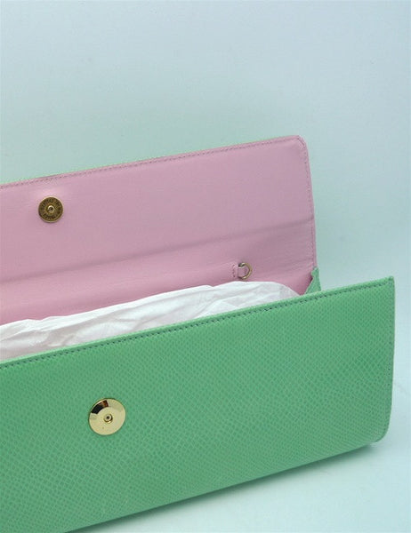 LAI Mint Lizard Clutch with Pink Interior