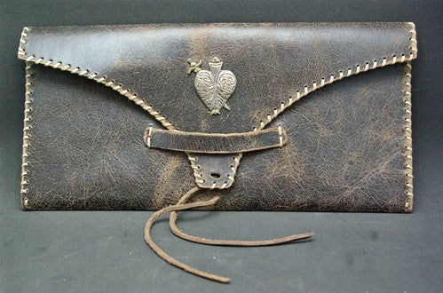 David Winter Leather and Whipstitched Clutch with Sterling Heart Icon