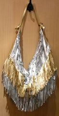 Jana Feifer Silver/Gold Metallic Fringe Shoulder Bag