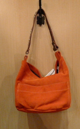 Tylie Malibu Orange Suede Studded Utility Shoulderbag