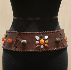 Orciani Brown Beaded Wide Belt