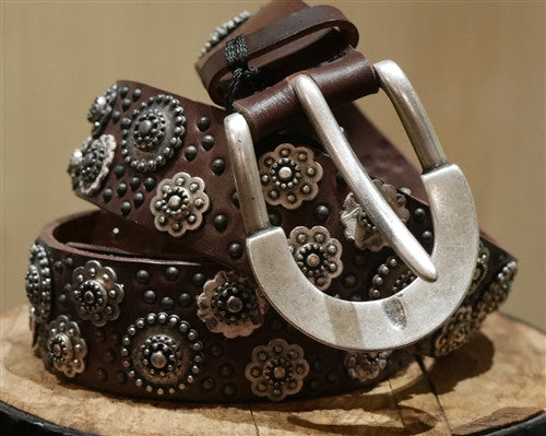 Orciani Studded Brown Leather Belt