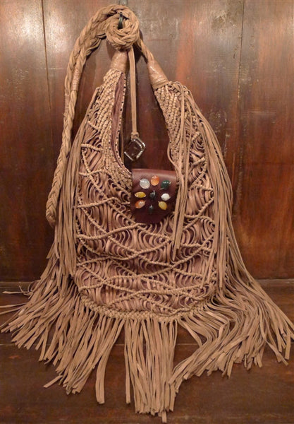 Orciani Fringed Suede Crossover Shoulder Bag with Stone Embellishment