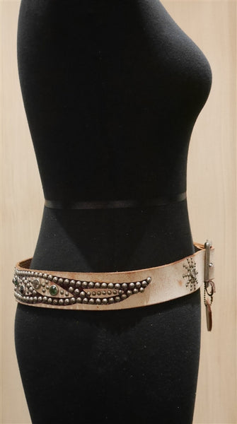 Hollywood Trading Company Beige Jewel Belt