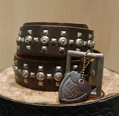Hollywood Trading Company Silver Studded Brown Belt