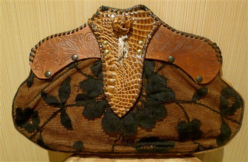 Malini Murjani Lace and Crocodile Clutch Handbag