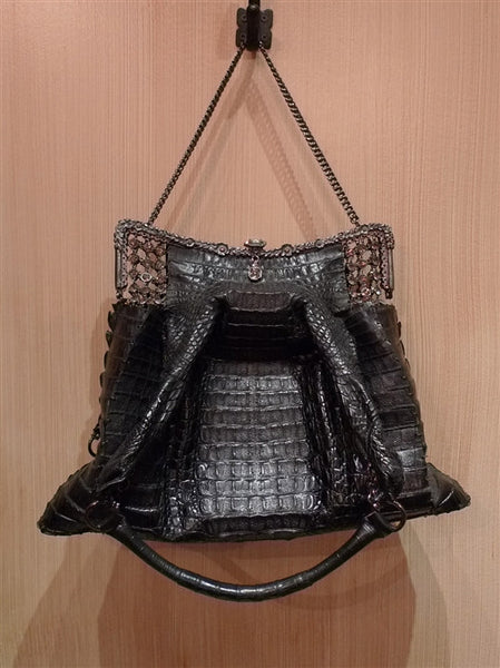 Clara Kasavina Black Crocodile Purse with Crystal Mesh and Frame