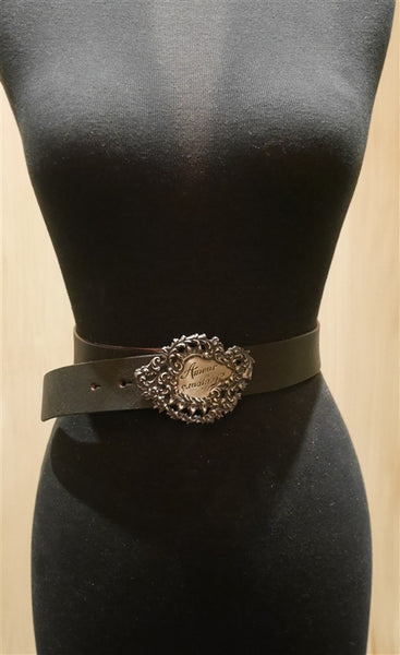 Catherine Michiels Silver Amour Buckle with Black Leather Belt
