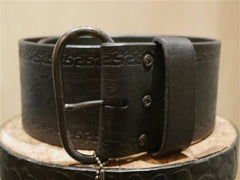 Hollywood Trading Company Wide Black Leather Belt