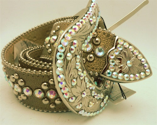 B.B Simon Swarovski Crystal Embellished Western Belt on Taupe Metallic Leather Strap
