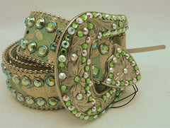 B.B Simon Swarovski Western Belt on Lime Green and Gold Metallic Belt