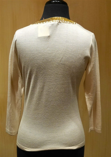 Armand Diradourian Gold Metal Sequined Trim Sweater