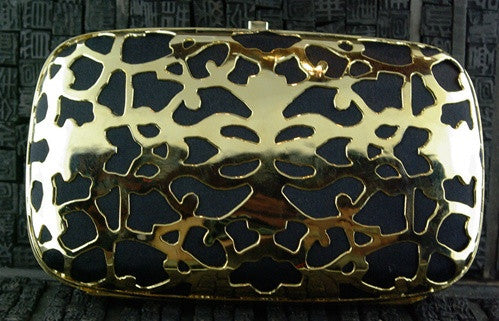 Shana Caged Satin Clutch in Black Satin with Gold Metal Overlay