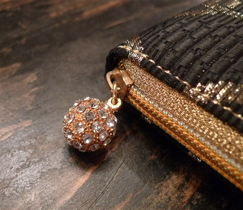 Kotur Brocade Kellet Clutch with a Pave Swarovski Crystal Closure