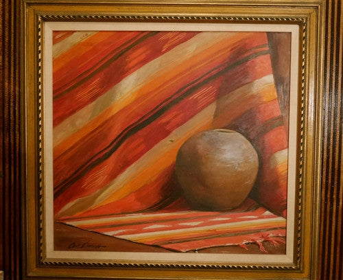 Signed Oil Painting , Indian Art #19, Carl Schmidt, c 1920