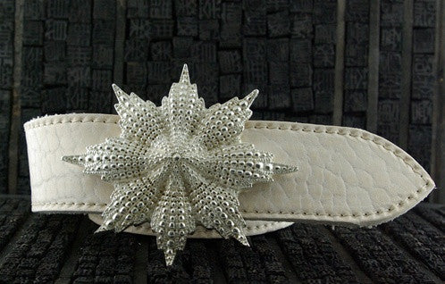 Ugo Cacciatori Sterling Silver Starburst Buckle and Pearlized Leather Belt