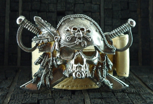 Ugo Cacciatori Pirate/Skeleton Belt Buckle and Leather Strap