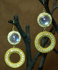 Emily and Ashley Green (Greenbeads) 18K Yellow Gold, Moonstone and Diamond Earrings