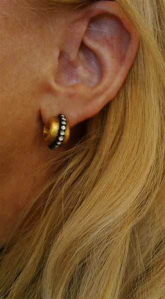 "Yossi Harari Sara Hoop Earrings with Diamonds in 24K Gold and Oxidized ""Gilver"""