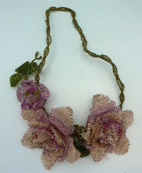 Mindy Lam Pink and Peach Swarovski Crystal  Flower Necklace