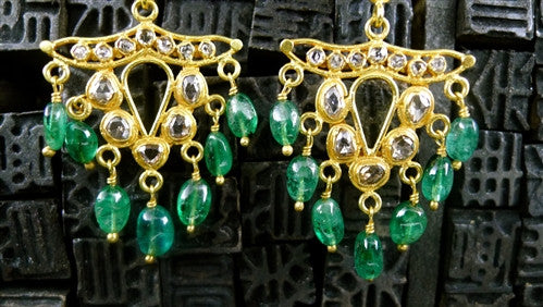 Vintage Emerald and Diamond Earrings in 22K Yellow Gold
