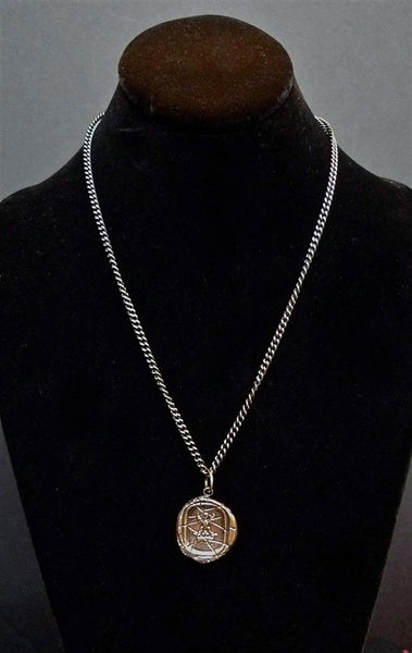 "Pyrrha ""Eagle in Crown"" Sterling Silver Seal Pendant Necklace"
