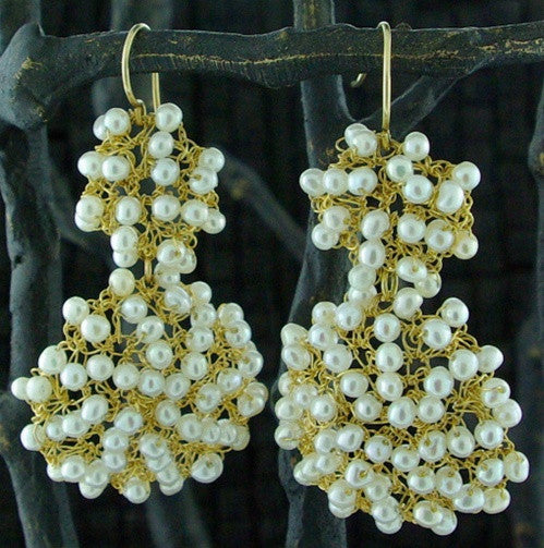 Sonya Ooten 14K Yellow Gold and Pearl Double Woven Disc Earrings
