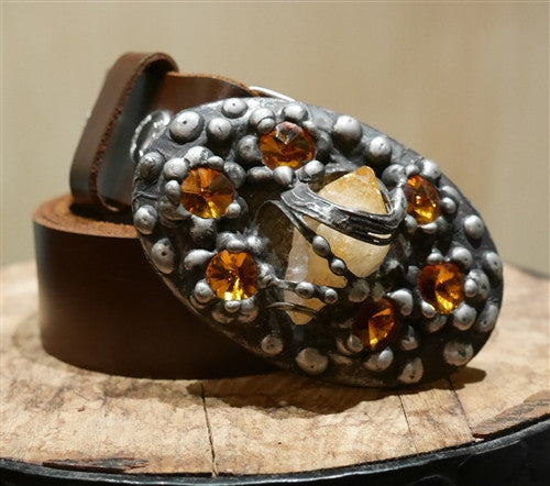 Mikal Winn Fire Crystal Buckle and Brown Belt