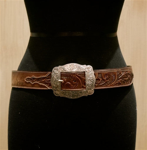 Continental Leather Fashion Silver Square Buckle Belt