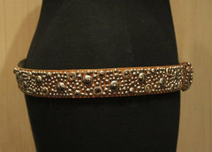 Streets Ahead Saddle Brown Belt with Studs and Crystals