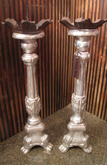 Antique (Pair) Fine Silver Gilt European Candlesticks