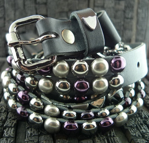 HTC Black  Studded Wonder Stripes Blackened Chains and Purple Crystal Belt