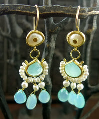 Nava Zahavi 24K Pearl and Peruvian Chalcedony Chandelier Earrings