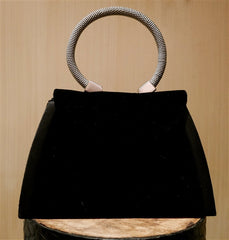 Corem Rose Small Black Velvet Handbag