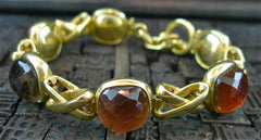Steven Vaubel 18K Yellow Gold Vermeil and Multi Colored Quartz Stone Bracelet