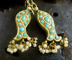 Amrapali 22K Yellow Gold, Turquoise, and Pearl Fish (Pisces) Earrings