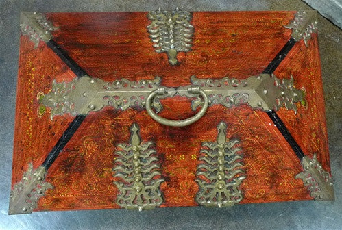 Berber Antique Moroccan Painted Cedar Chest