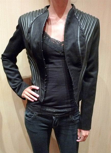 Catherine Deane Irina Strong Shoulder Jacket with Leather Accents