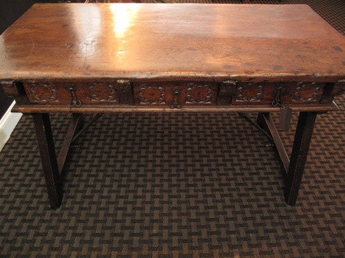 Very Rare 18th Century Spanish Desk with Wrought Iron Trestling