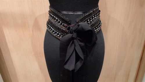 Erickson Beamon For Haiti Corset Chain Encrusted Belt with Ribbon Tie Closure