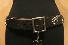 HTC Western Tooled and Crystal Studded Belt
