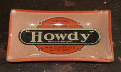 "Two's Company Vintage Labels Glass Dish ""HOWDY"""