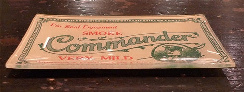 "Two's Company Vintage Labels Glass Dish ""COMMANDER"""