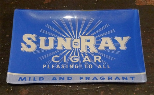"Two's Company Vintage Labels Glass Dish ""SUNRAY"""