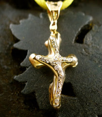 Lucifer Vir Honestus 18K Yellow Gold and Diamond Organic Cross Pendant