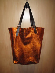 Jane August King's Road Leather Tote - Orange Metallic